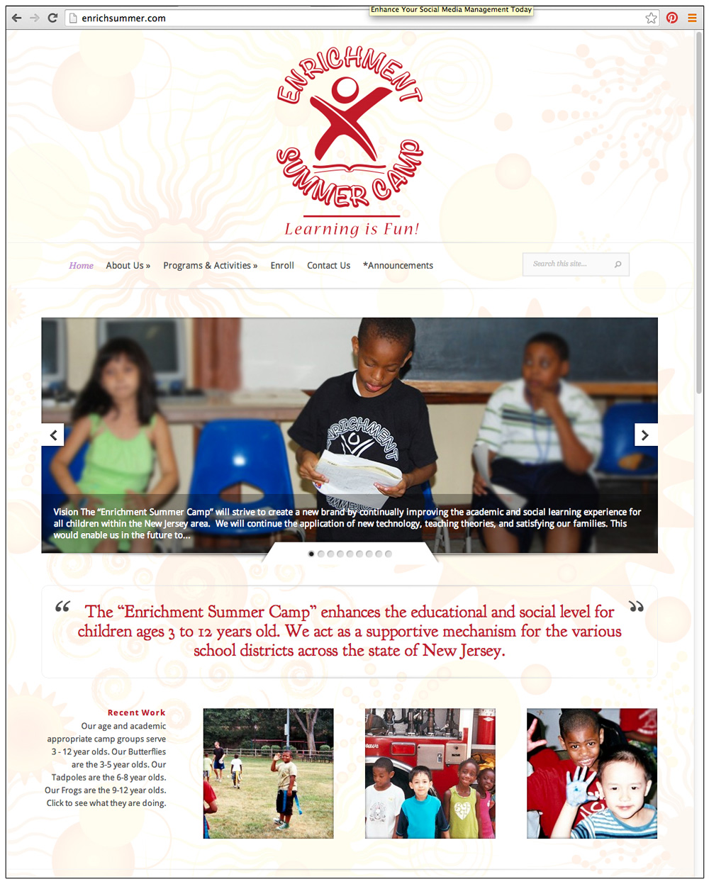Enrichment Summer Camp Website by Ashalla Design Shop
