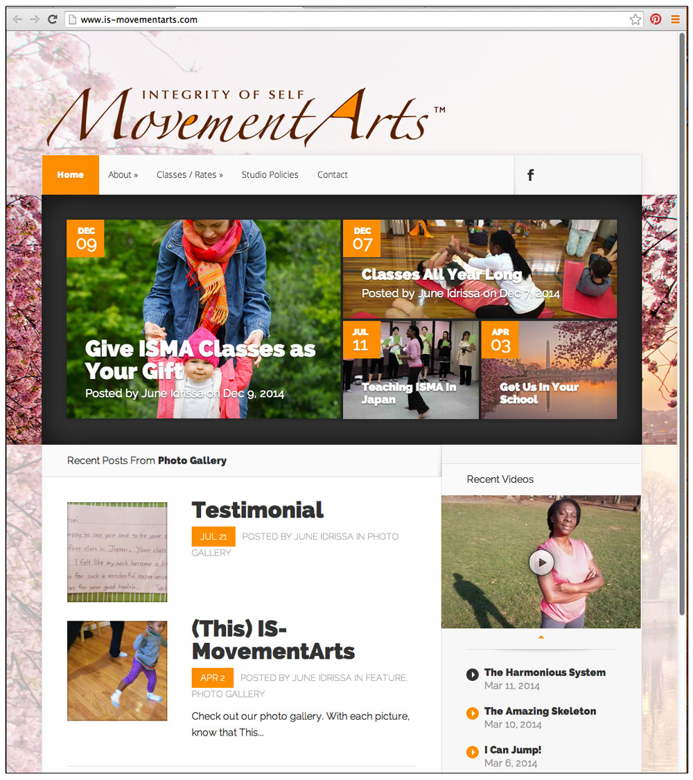 Integrity of Self Movement Arts Website by Ashalla Design Shop